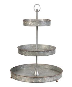 Distressed Metal Tiered Stand