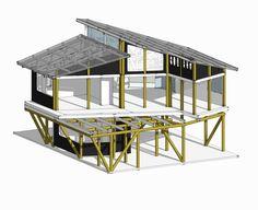 Galería de Casa en la punta del cerro / Lotecircular - 10 D House, House On A Hill, House Rooms, Bamboo House Design, Loft Plan, Casas Containers, Hillside House, Bamboo Architecture, Free Shed Plans