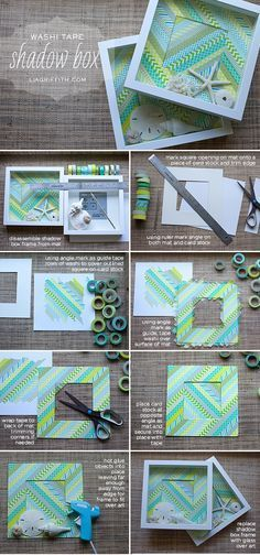 Washi Tape Shadow Box to Display Your Found Treasures. Take advantage of products available now such as Washi tape, to update the old shadow box idea.