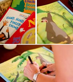 Jungle Shower-sign a copy of the Jungle Book in lieu of a traditional sign in book! Awesome idea for any theme party. Find a book to fit the theme! Awesome gift and memory keepsake!