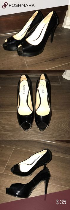 Guess black patent leather platform heels size 7 Guess black patent leather platform peep toe heels. Women's size 7. Excellent used condition. Worn five or six times. Very minor scuffs. Guess Shoes Heels
