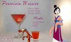 """""""Porcelain Warrior"""" and """"Mushu"""" 29 Disney-Themed Cocktails You Need To Try ASAP Disney Cocktails, Cocktail Disney, Disney Alcoholic Drinks, Disney Mixed Drinks, Frozen Drinks, Fun Cocktails, Party Drinks, Cocktail Drinks, Cocktail Recipes"""