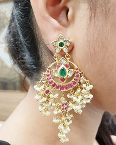 Necklaces / Harams - Gold Jewellery Necklaces / Harams at USD Gold Jhumka Earrings, Indian Jewelry Earrings, Jewelry Design Earrings, Gold Earrings Designs, Gold Jewellery Design, Ear Jewelry, Gold Jewelry, Silver Bracelets, Jewelry Shop