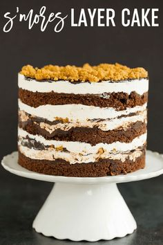 S'MORES LAYER CAKE :: This s'mores cake is built Milk Bar style - layers of chocolate cake, toasted marshmallow frosting, fudge sauce, and graham crust crumbs!