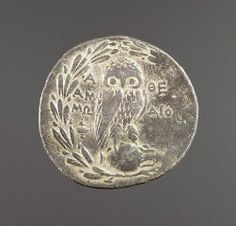 "Athena's owl on the back of a four-drachma coin, ca 185 BC; Getty Museum   Athena was the patron goddess of the city of Athens. For almost five hundred years, beginning about 520-510 B.C., Athena and her owl were ever-present on Athenian coins, which are nicknamed ""owls."""
