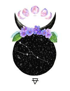 Taurus constellation - Miss CoffeeLove - Astrology party Taurus Art, Zodiac Signs Pisces, Zodiac Art, Taurus Horoscope, Capricorn Facts, Taurus Sun Sign, Taurus Woman, Horoscope Tattoos, Taurus Tattoos