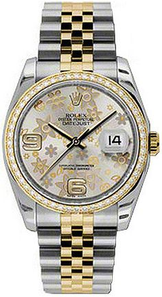 116243  ROLEX OYSTER PERPETUAL DATEJUST LADIES LUXURY WATCH    Usually ships within 4 weeks - FREE Overnight Shipping- NO SALES TAX (Outside California) - WITH MANUFACTURER SERIAL NUMBERS- Silver Floral Dial - Solid 18K Yellow Gold Diamond Bezel - 52 Diamonds Set on Bezel - Date Feature   - Self Winding Automatic Chronometer Movement- 3 Year Warranty- Guaranteed Authentic - Certificate of Authenticity- Manufacturer Box