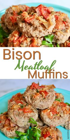 Bison Meatloaf Muffins are great for a weeknight dinner or make-ahead lunches.  The servings are individually portioned in a muffin tin, making this meatloaf recipe even easier to serve.