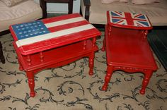 Solid maple retro end tables.  Painted with Annie Sloan chalk paint.  Emperor's Silk, Napoleonic Blue and Old White.  Clear and Clear/dark wax mix.