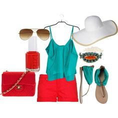 """""""Coral and Turquoise"""" by erin-elise-beck on Polyvore"""