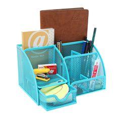 Blue Metal Mesh Desk Organizer Office Supply Caddy