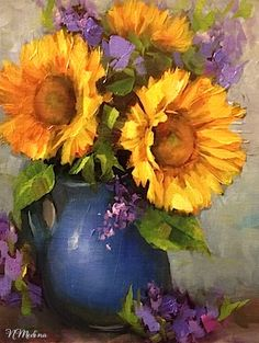 Artists Of Texas Contemporary Paintings and Art - SOLD ~ Dream Sunflowers by Texas Flower Artist Nancy Medina
