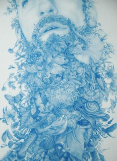 Z  A  C  H  A  R  I     L  O  G  A  N  / Wild Man 2. (detail)  Blue pencil on mylar, 18 x 40 inches, 2012.