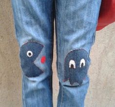 Clever Ways to Patch Your Knee Holes - DIY PacMan Patched Knee Pants