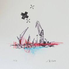 erste zeichnung im neuen jahr   hafenliebe   christian wagner #hamburg #moin #ahoi #hamburg_de #welove_hamburg #welovehh #hamburgahoi #hafen #port #portofhamburg #hamburgportauthority #sketch #art #worldofartists #instasketch #instaart #instagram #kräne #elbe #wasser #postcardsofhamburg #edition28 #pocket_creative #pocket_family Leg Tattoos, Postcards, Diana, Christian, Creative, Instagram Posts, Water, Drawing Pics