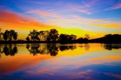 """""""Sunset Symmetry"""" - an autumn sunset above the Forebay in Oroville, CA."""