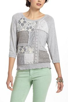 Patched Lace Sweatshirt #anthropologie