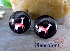 DEER  8 x  Handmade Photo Glass Cabs Cabochons 12mm  by ciaocolor, $2.40