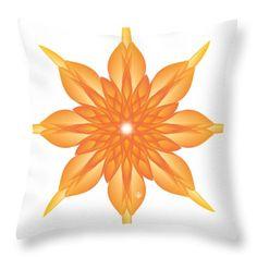 Surreal Throw Pillow featuring the digital art Flower Unus - Abstract Art Print - Fantasy - Digital Art - Fine Art Print - Flower Print by Ron Labryzz