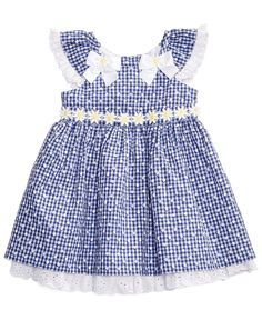 Image 1 of Bonnie Baby Eyelet & Daisy Gingham-Print Dress, Baby Girls months) Frocks For Girls, Kids Frocks, Dresses Kids Girl, Toddler Dress, Toddler Outfits, Baby Dress, Kids Outfits, Newborn Girl Outfits, Little Girl Outfits