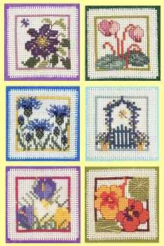 Clematis, Cyclamen, Cornflower, Garden Gate, Crocus or Nasturtium Keepsake counted cross stitch