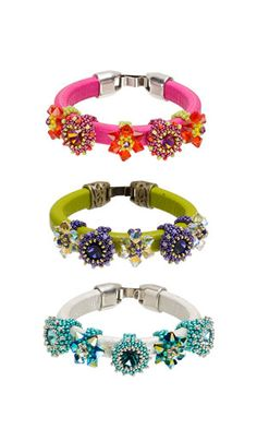 3-Piece Bracelet Set with SWAROVSKI ELEMENTS, Leather Cord and Seed Beads