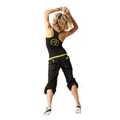 Sporty meets sexy when you pair the flattering, slimming Fast Dash Racerback  with Logo Cargo Pants available.  	  	• Contrast neck binding  	• Striped ZUMBA® print on front  	• Striped ZUMBA® logo on back  	  	90% Cotton, 10% Spandex