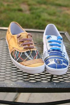 C3P0 R2D2 hand painted shoes by ShoesbyDawn on Etsy