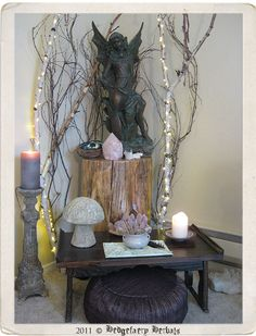 OK, the statue is not to my taste, but the rest of this little corner sacred space is lovely