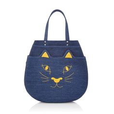 Upgrade your everyday look with the Kitty Shopper. This large shopper bag in dark denim with yellow embroidery and leather piping is a must-have for the modern lady with a Charlotte Olympia Kitty affinity.