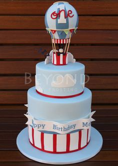 Hot Air Balloon 1st Birthday Cake