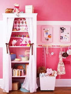 GIRLY STORAGE CLOSET: Spice up your kid's room with baking gear repurposed as storage accessories. Here rolling pins work as accessory hooks, baking pans create a magnet board, and muffin tins hold tiny trinkets.