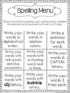 word work spelling menu