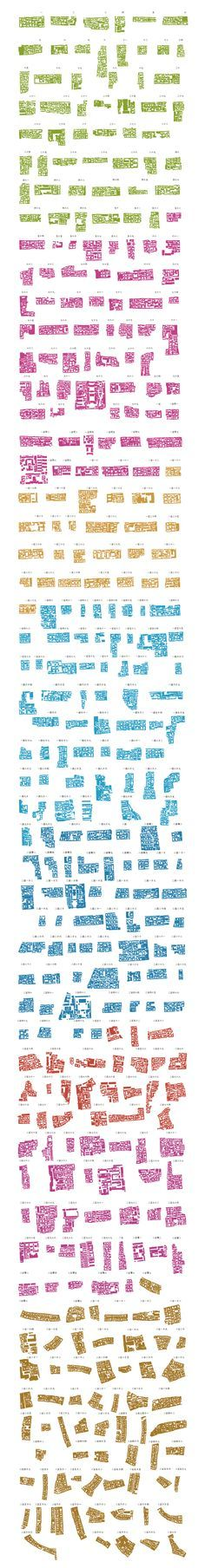 "Part of Instant Hutong's Community Catalogue 2007, a catalog of hutong block patterns laid out as a ""series of 1500 communities of courtyard houses cut out and isolated from the map of downtown Beijing""."