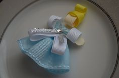 Cinderella Hair Bow Clip Ribbon Sculpture by katelynnskloset, $6.50