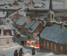 "the-paintrist: "" paintingbox: "" Clarence Gagnon Midnight Mass. Oil on paper laid on wood. x cm "" Clarence Gagnon November 1881 – 5 January was a Canadian painter from. Canadian Painters, Canadian Artists, Nocturne, Clarence Gagnon, Art Gallery Of Ontario, Kitsch, Mary Cassatt, Of Montreal, Winter Art"