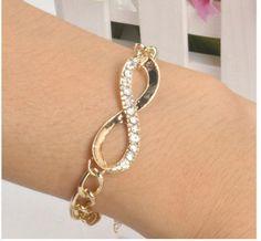 New Cute Gold Crystal Rhinestone Infinity Chain Bracelet Charming Jewelry
