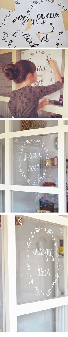 Joyeux Noël window decoration tutorial in French by L'encre violette with template. Lovely!Nx