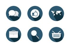 Elegant dark blue marketing icons.