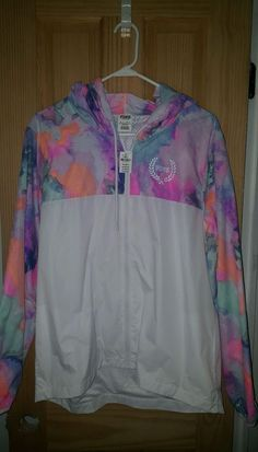 70d4323e12f VICTORIAS SECRET PINK ANORAK WINDBREAKER JACKET HOODIE MARBLE WATERCOLOR M  L in Clothing