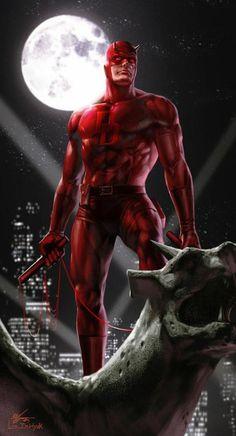 Daredevil:My in my top ten list of male MARVEL heroes. Marvel Dc Comics, Marvel Comic Universe, Comics Universe, Marvel Heroes, Daredevil Artwork, Daredevil Elektra, Comic Book Characters, Marvel Characters, Comic Books Art