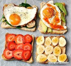 4 kind of bread decoration wonderful and delicious breakfast egg mushroom strawberry banana butter avocado