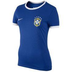 Brazil Ladies Nike World Cup Soccer T-Shirt - Royal Blue Color