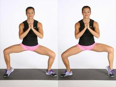 """Sumo Squat with Calf Raises """"Stand with your feet about three to four feet apart, toes turned out. Bring your hands together in front of your chest, and squat down so your thighs are parallel with the. Fitness Workouts, Fitness Motivation, Butt Workout, Squats Fitness, Leg Workouts, Plie Squats, Best Calf Exercises, Thigh Exercises, Fitness Inspiration"""