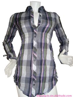 DEPT Long Blouse Check Stone