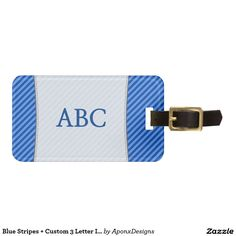 Shop Blue Stripes + Custom 3 Letter Initials Luggage Tag created by AponxDesigns. 3 Letter, Custom Luggage Tags, Standard Business Card Size, Baggage, Blue Stripes, Initials, Bags, Personalised Luggage Tags, Handbags