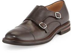 $1,080, Brunello Cucinelli Leather Monk Strap Loafer Brown. Sold by Bergdorf Goodman. Click for more info: https://lookastic.com/men/shop_items/153249/redirect