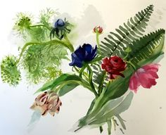 Original Watercolor painting -Flowers, Ferns   Fluff by Gretchen Kelly, painting by artist Gretchen Kelly