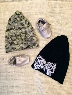 Slouchy Beanies and Baby Moccs! It doesn't get much cuter than this! Available at www.etsy.com/shop/jbabyapparel