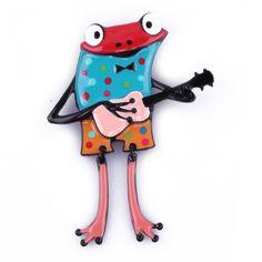 Broche grenouille à guitare bleue pois multicolores